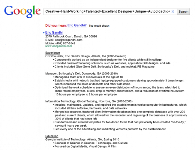 Google Search Themed Resume  How To Write Out A Resume