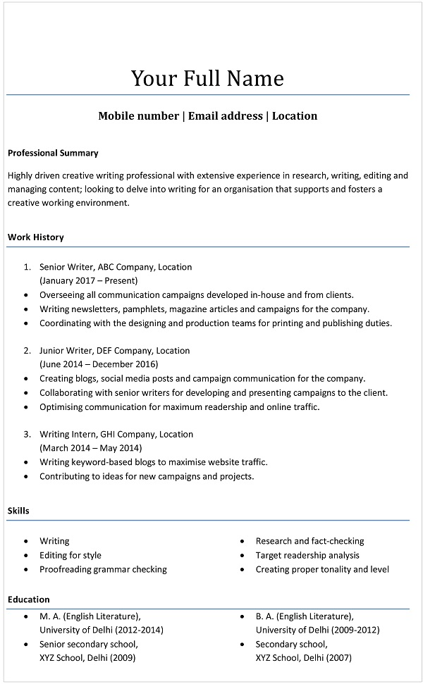 Resume Formats  Choose The One That U0026 39 S Right For You - Resume  U0026 Cover Letters