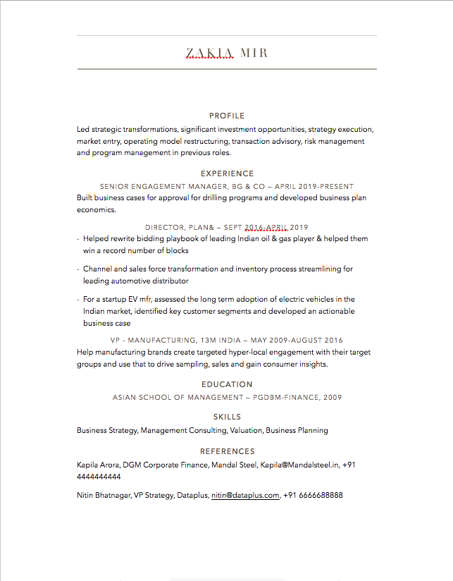 Resume sample for experienced professionals