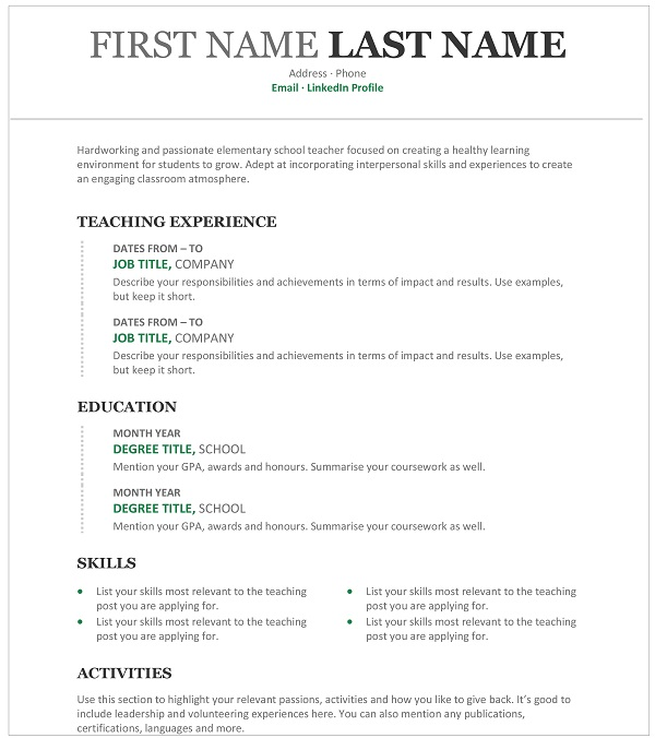 Teacher Resume How To Write One With A Sample