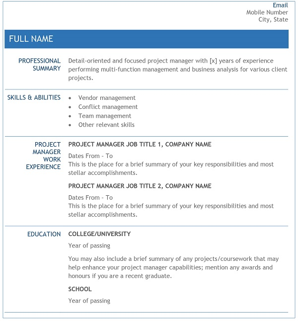 Project Manager Resume Sample and Writing Guide - Resume
